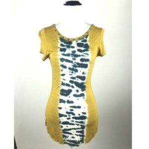 Karen Millen Mustard Yellow Tie Dye Pattern Blouse
